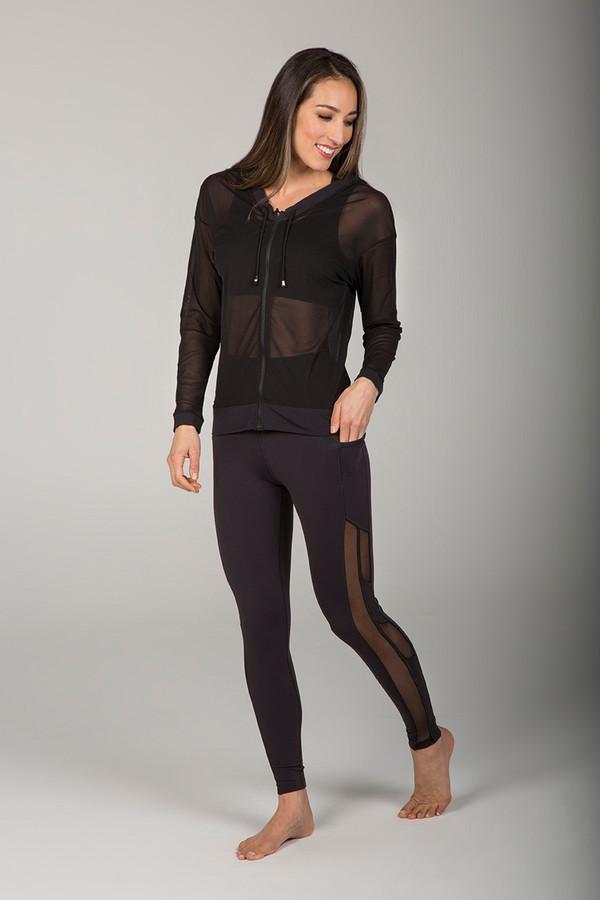 Black Shimmer Drawstring Zip Up and Legging Set