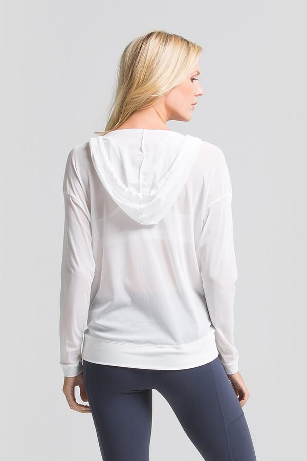 White Mesh Zip-Up Hoodie back view