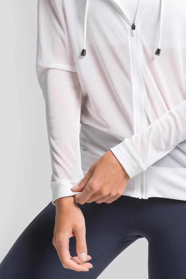 White Long Sleeve Mesh Yoga Jacket