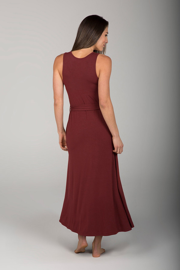 Deep Red Clay Waist Tie Dress back view