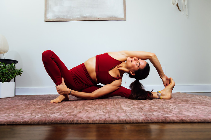 Deep Red Bra and Legging Set Elena Brower Yoga Pose