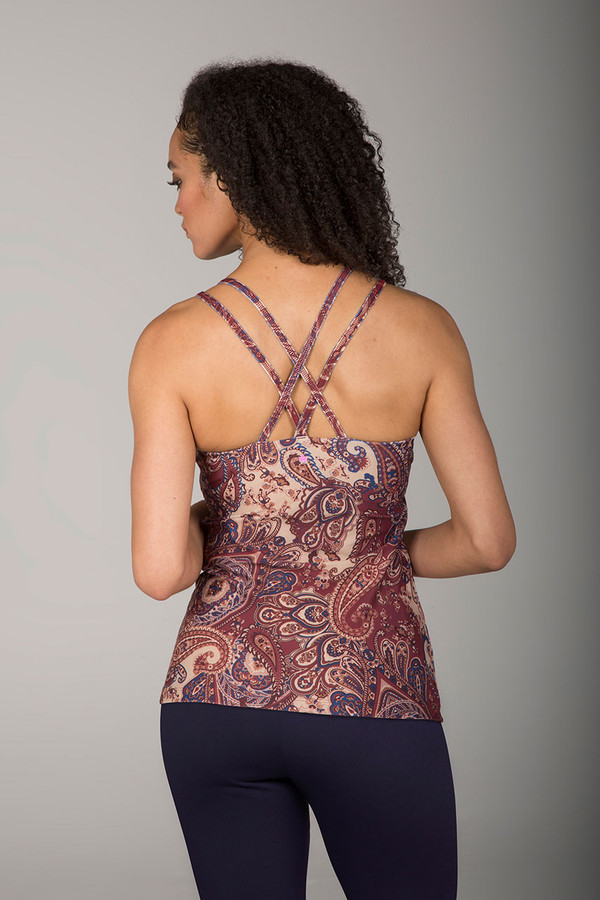 Criss-Cross Back Double-Strap Cami in Moroccan Paisley back view