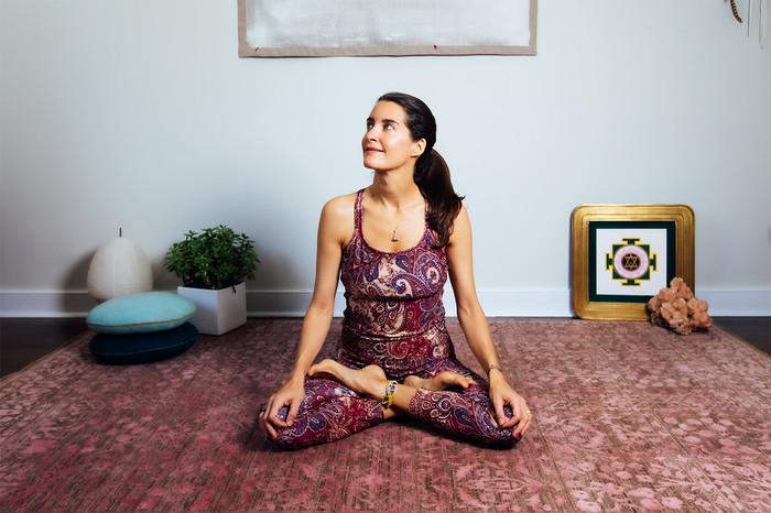 Paisley Pattern Double-Strap Yoga Tank  and Legging Set Elena Brower