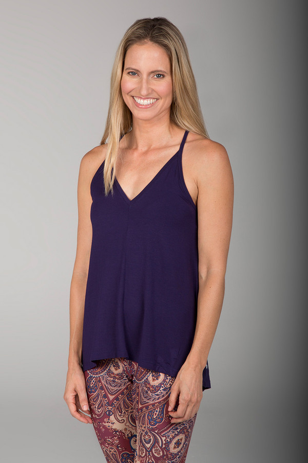 Navy Blue Deep V Neck Yoga Cami