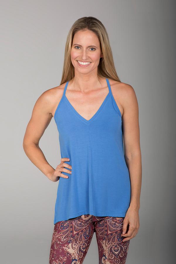 Blue Deep-V Yoga Cami front view