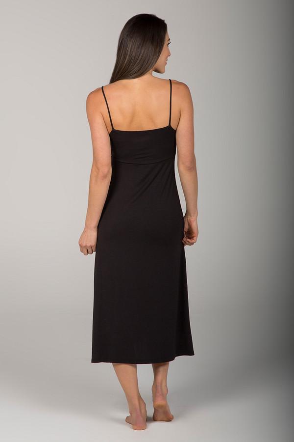 Long Black Slip Dress back view