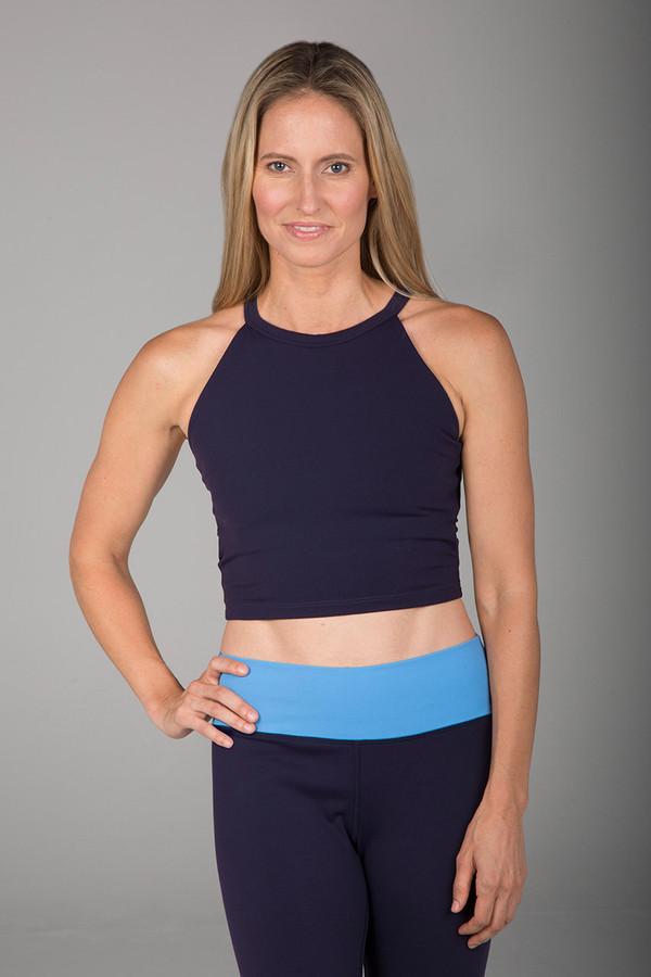 Grace Yoga Halter Crop Top (Navy)