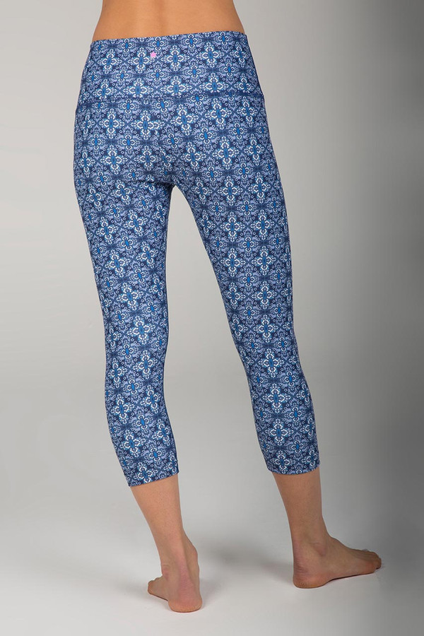 Blue Pattern Renew Yoga Capri Pant back view