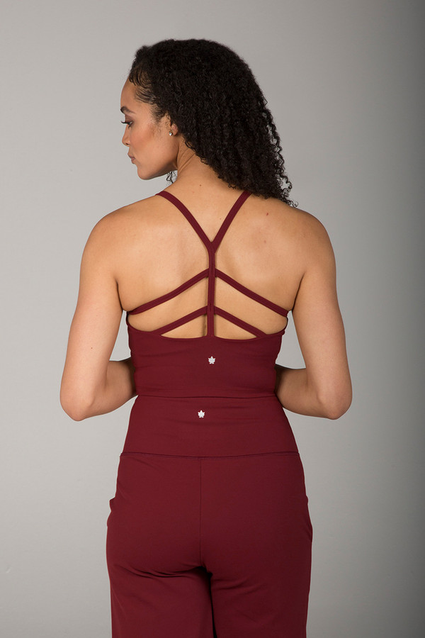 Strappy Back Yoga Crop Top in Red Clay back view