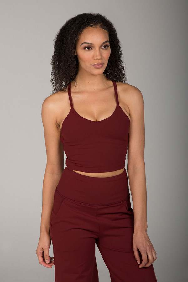 Thin Strap Cropped Tank Top in Earthy Red front view