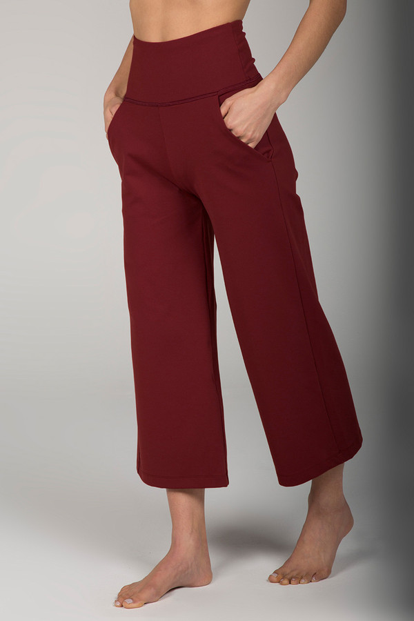 High Rise Cropped Wide Leg Yoga Pant in Clay