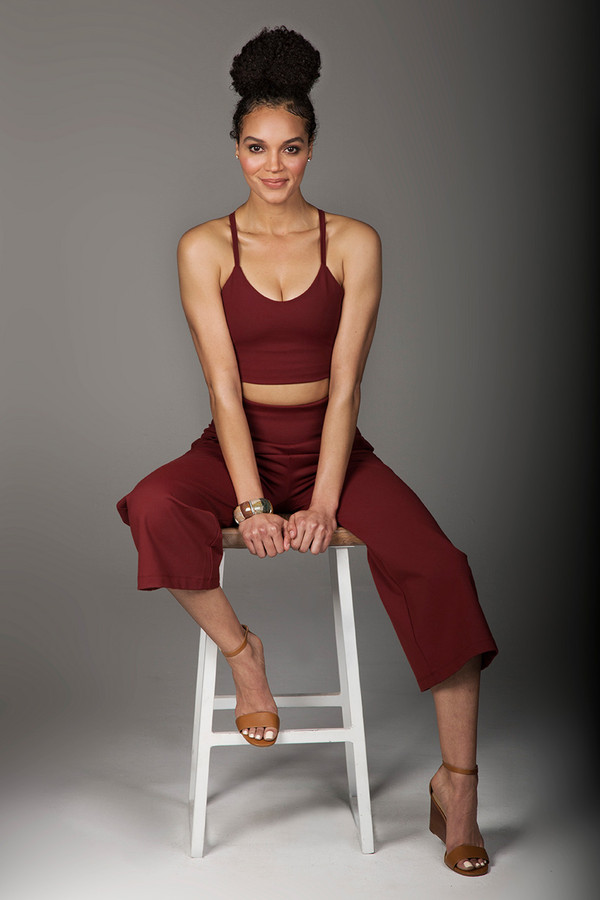 Clay Wide Leg Cropped Pant and Tank Yoga Outfit