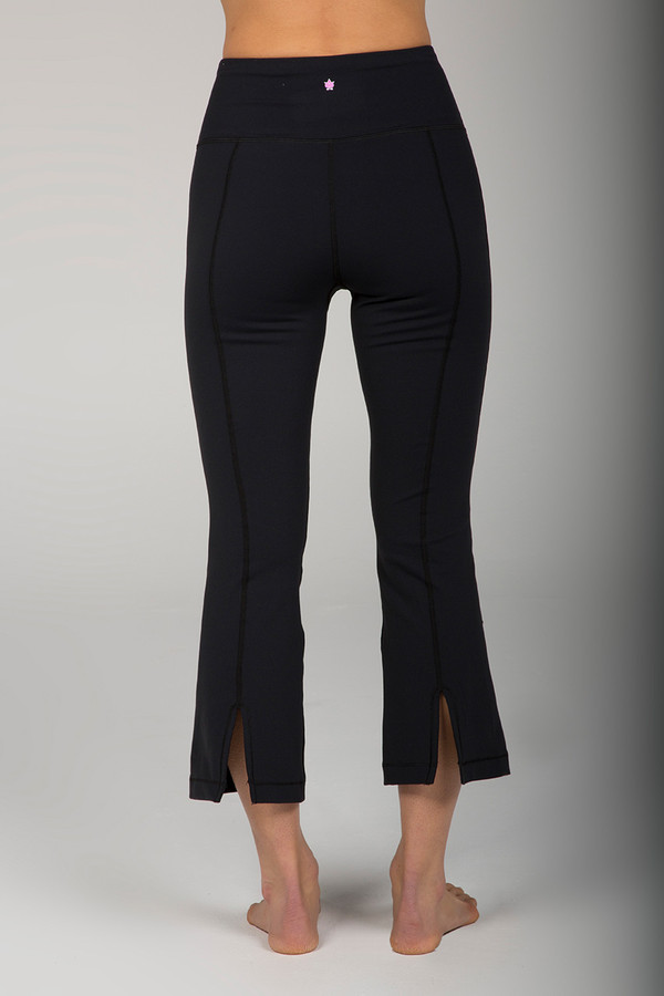 Black Flare Pants With Back Slits back view