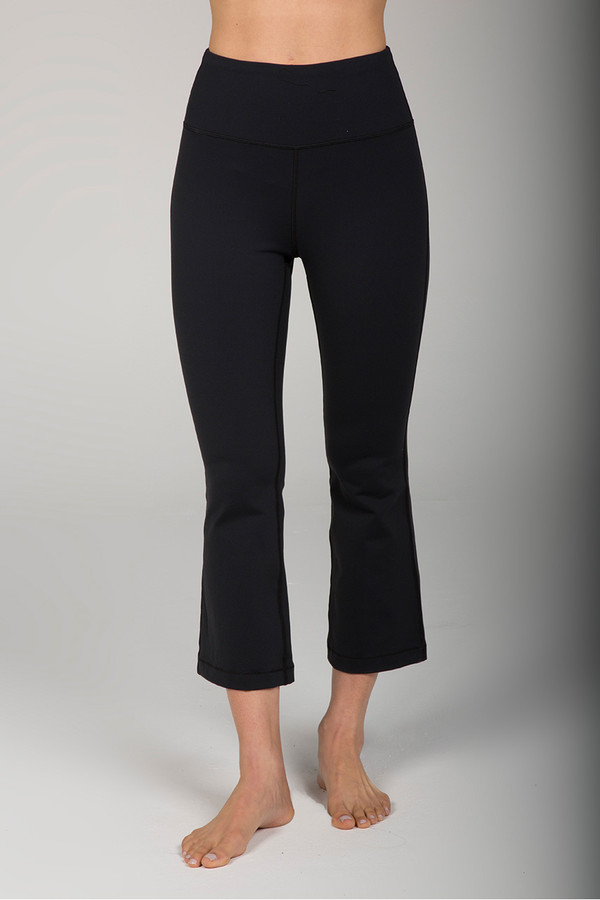 High Waist Cropped Flare Yoga Leggings in Black front view