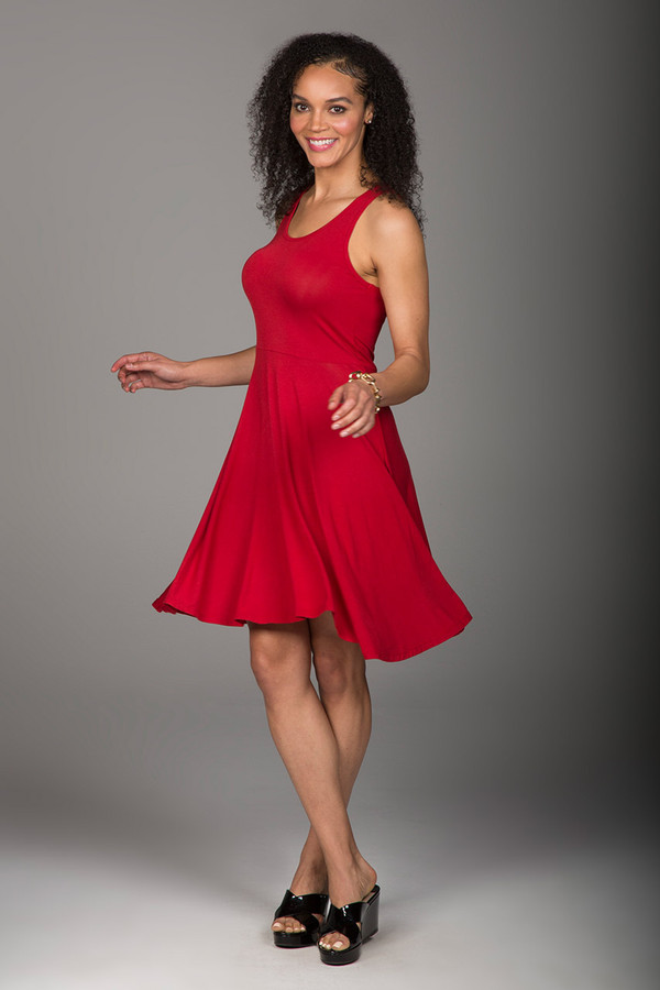 Flowing Red Dress in Chili