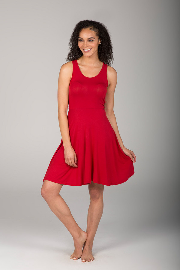 Red Yoga Beach Dress front view