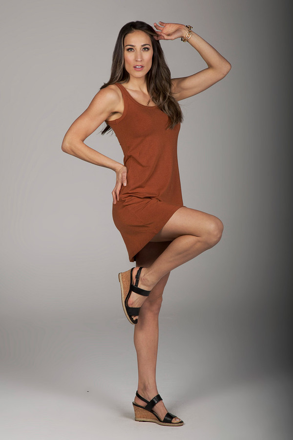 Easy Tank Yoga Dress in Rust