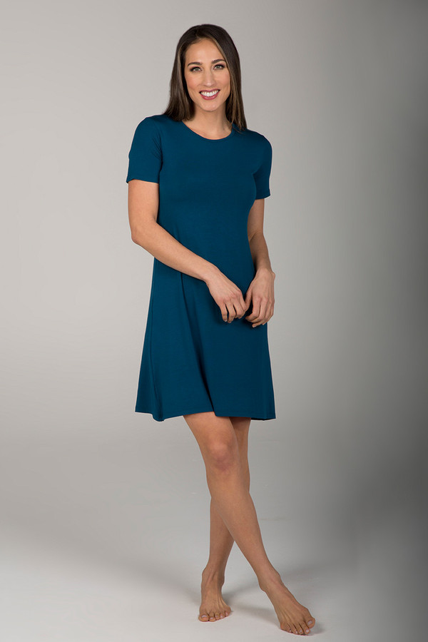 T-Shirt Yoga Dress in Moroccan Blue front view