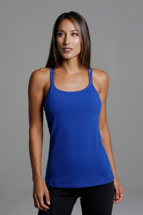 Grace Double-Strap Tank (Mazarine) front view supportive bust