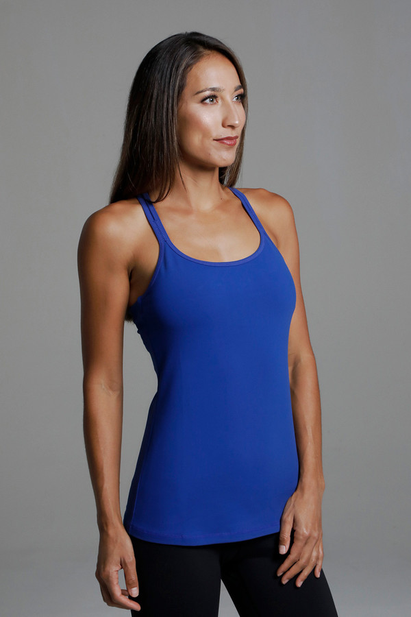 Grace Double-Strap Tank (Mazarine) side view supportive bust