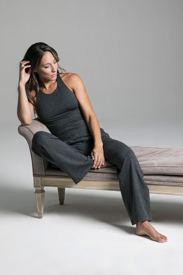 Cozy Traveler Pant (Charcoal Heather) & Grace Vinyasa Racerback in Charcoal Heather