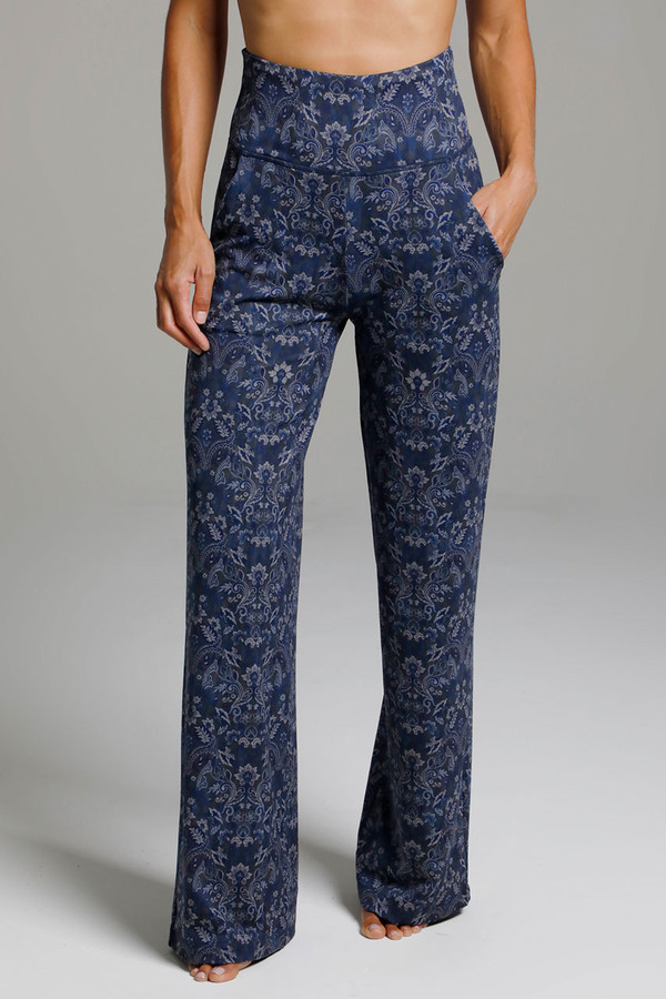 High Waisted Wide Leg Print Yoga Bottoms with Pockets