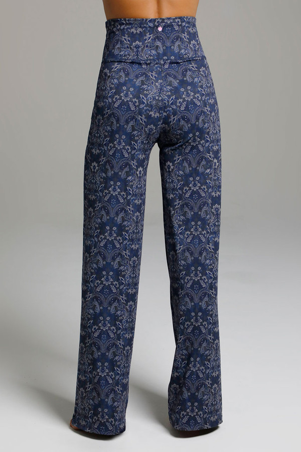 Blue Print Wide Leg Yoga Pants back view