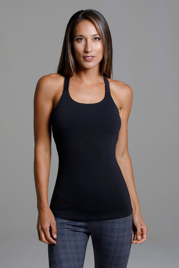 Black Yoga Tank Top with Built-In Shelf Bra front view