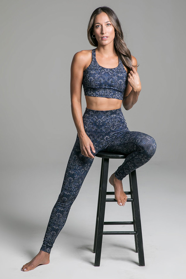 Tapestry Inspired Blue Pattern Yoga Bra and Legging Outfit