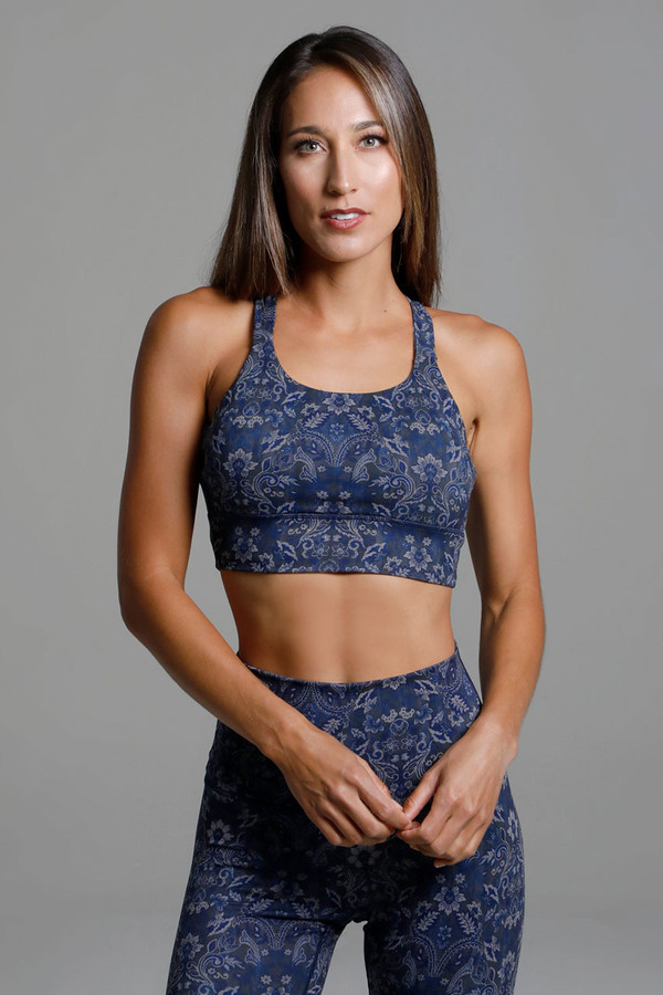 Supportive Blue Yoga Bra with Thick Band front view