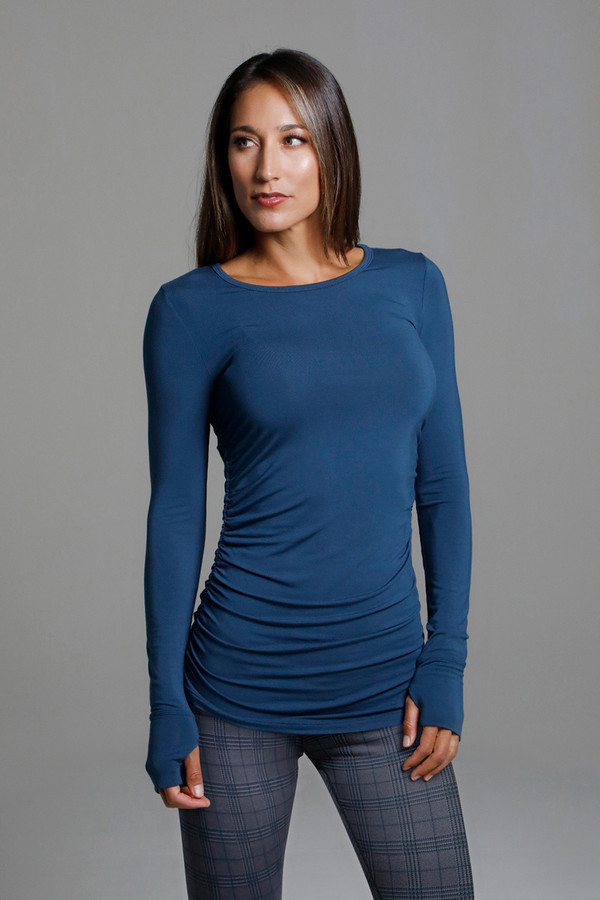 Side Ruched Long Sleeve Top with Thumbholes  in Blue