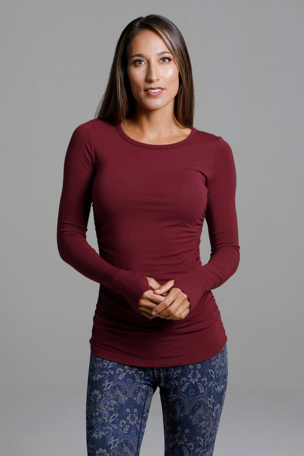 Side Ruched Long Sleeve Yoga Top in Sienna front view