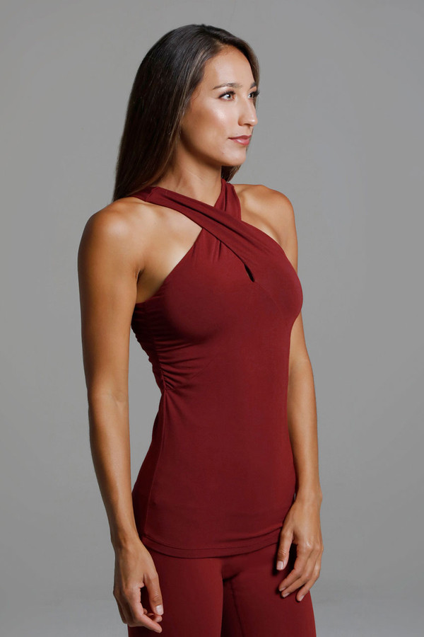 Glamour Goddess Luxe Halter (Sienna) side view support tank