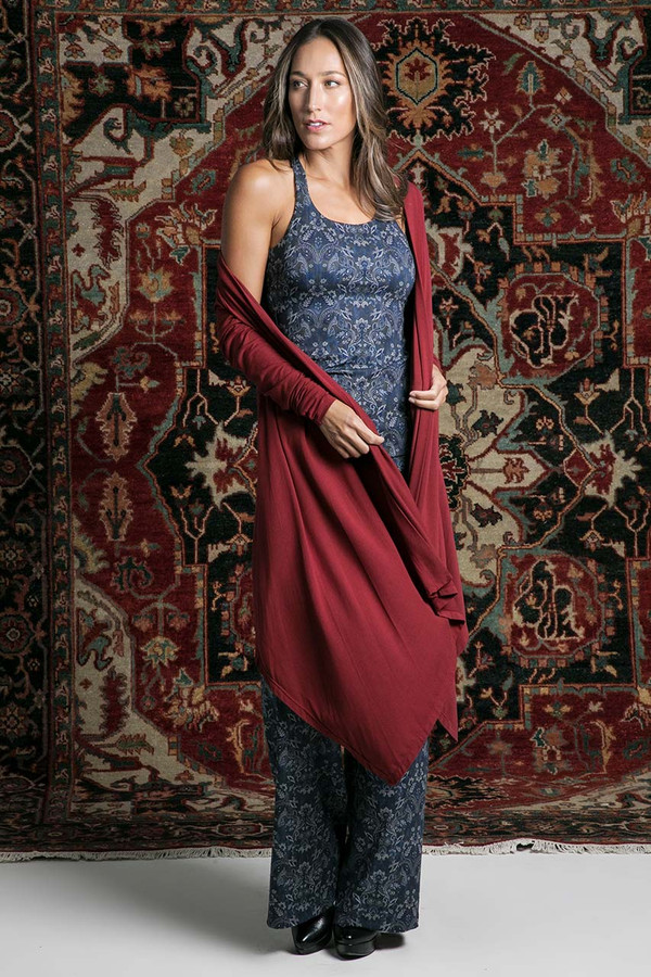 Knit Yoga Wrap (Sienna) lifestyle wrapped swinging cardigan
