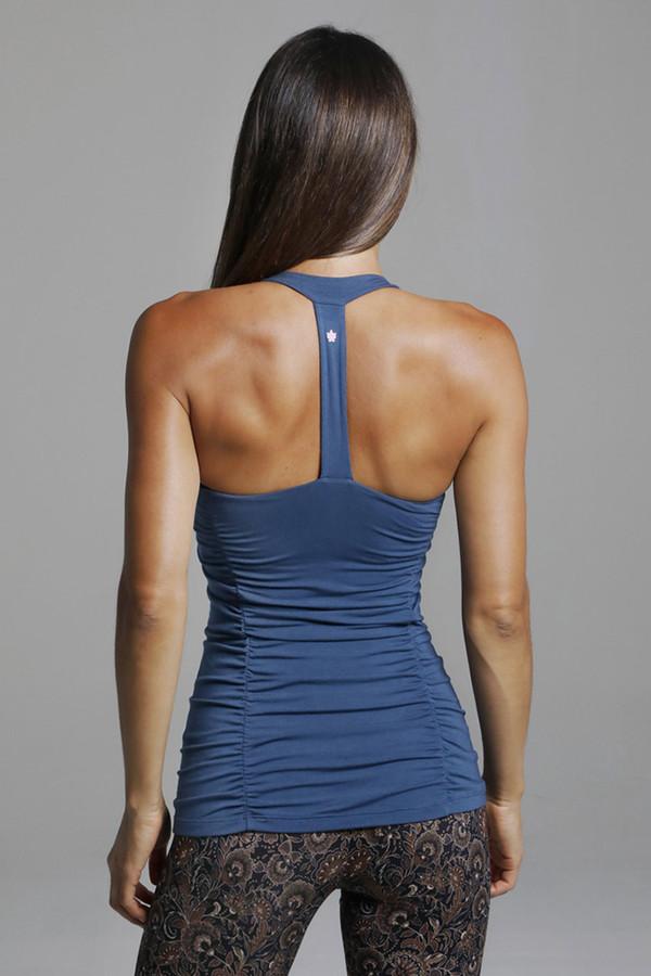 Blue T-Back Yoga Tank Top back view