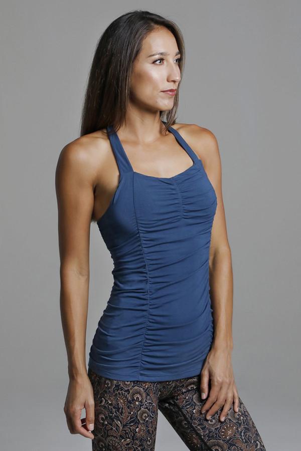 Oceana Blue Ruched Yoga Tank