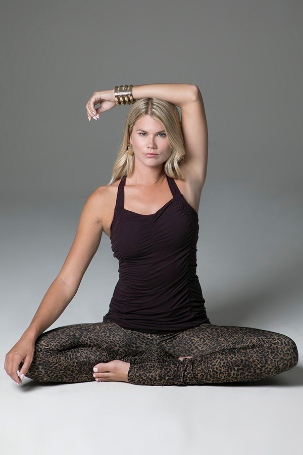 Leopard Leggings and Mahogany Tank Top Yoga Outfit