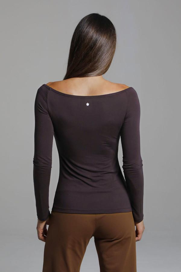 Soft Wide Neck LongSleeve Yoga Shirt back view