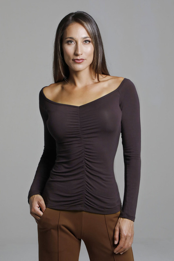 Layering Long Sleeve with Ruche detailing in Brown