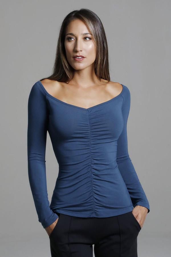 Oceana Blue Long Sleeve Yoga Shirt with Ruche