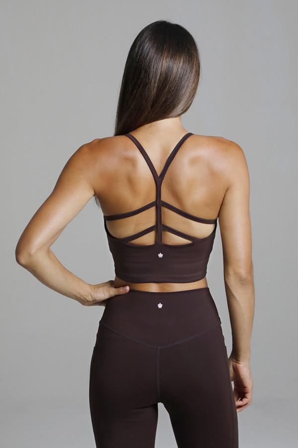 Strappy Back Yoga Crop Top in Mahogany