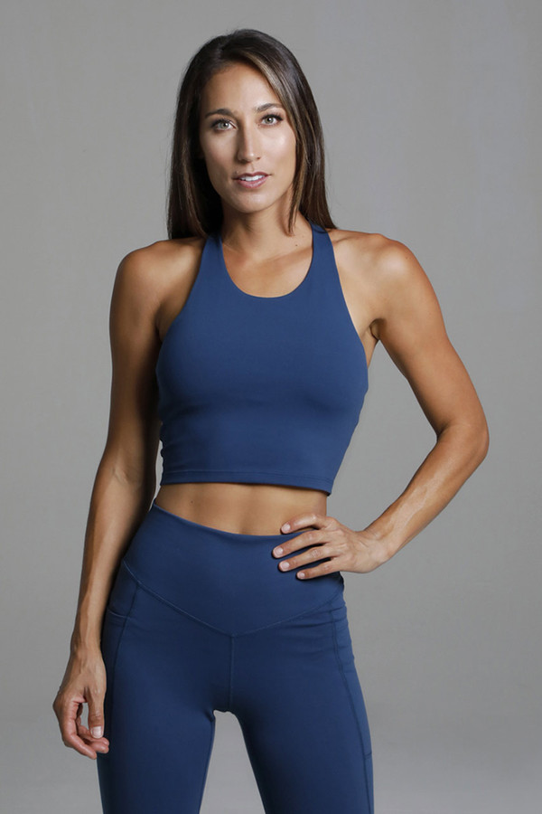 Supportive Cropped Blue Tank Top