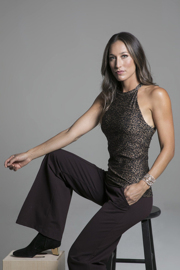 Perfect Leopard Print Tank and Wide Leg Pants Yoga Outfit