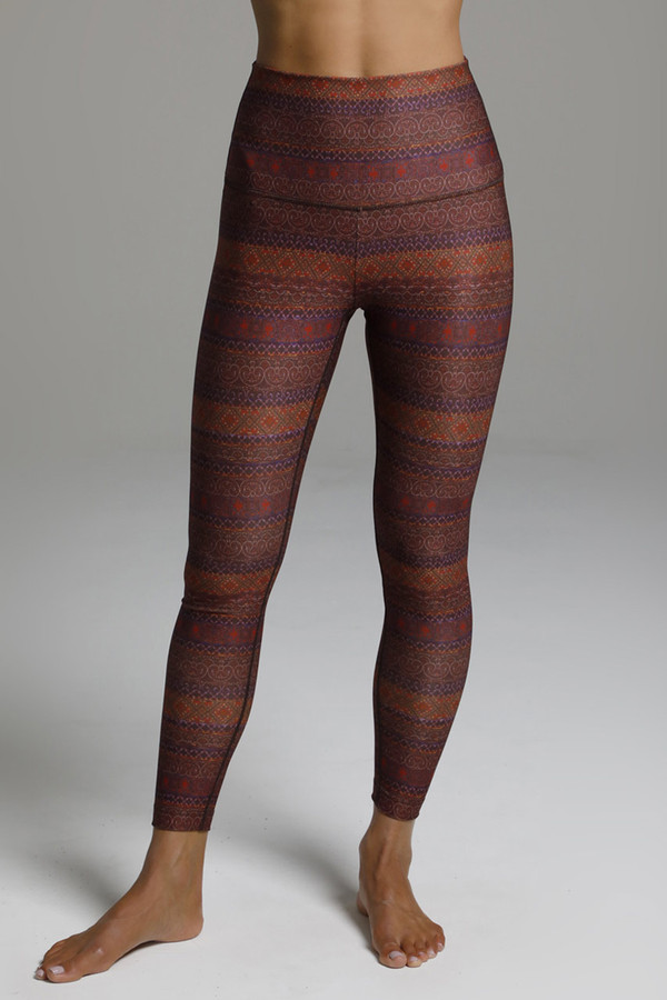 High Waist Fall Yoga Leggings with Tapestry Inspired Print