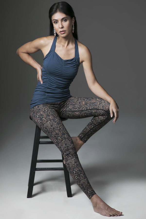 Oceana Blue T-Back Tank and Amber Floral Print Legging Outfit