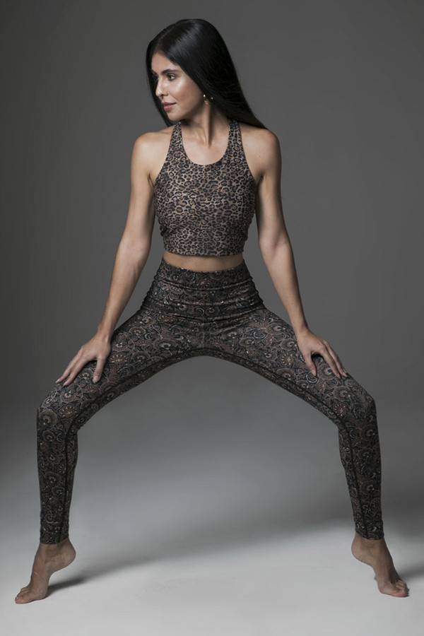 Leopard and Floral Mix and Match Yoga Pose