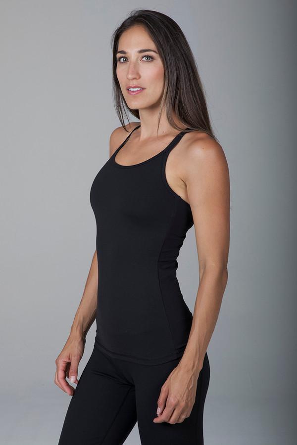 Grace Double-Strap Yoga Tank - Black supportive side