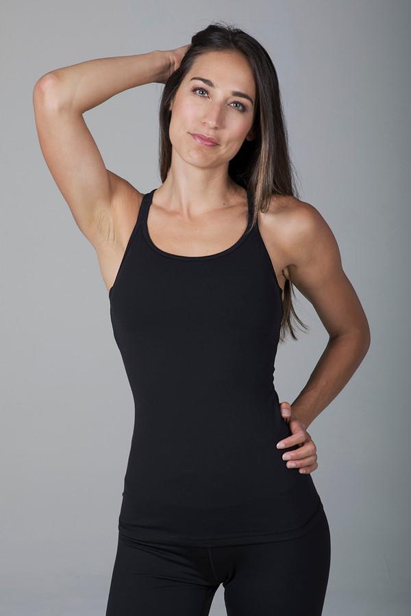 Grace Double-Strap Yoga Tank - Black front