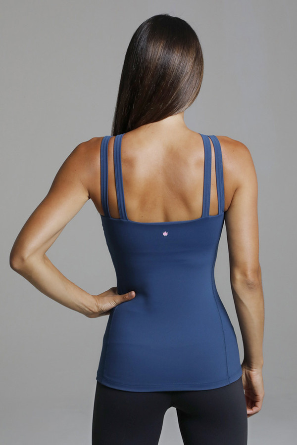 Elongating and Supportive Blue Yoga Top back view