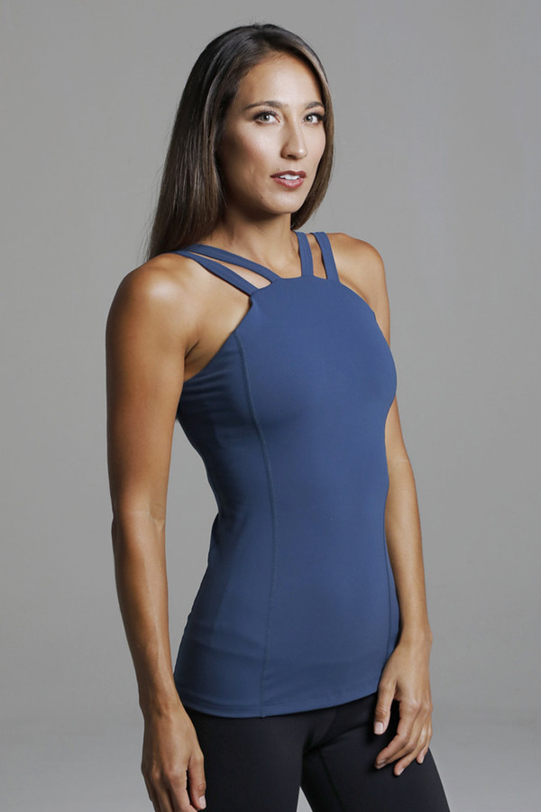 Oceana Blue Supportive Yoga Tank Top with Built-in Bra